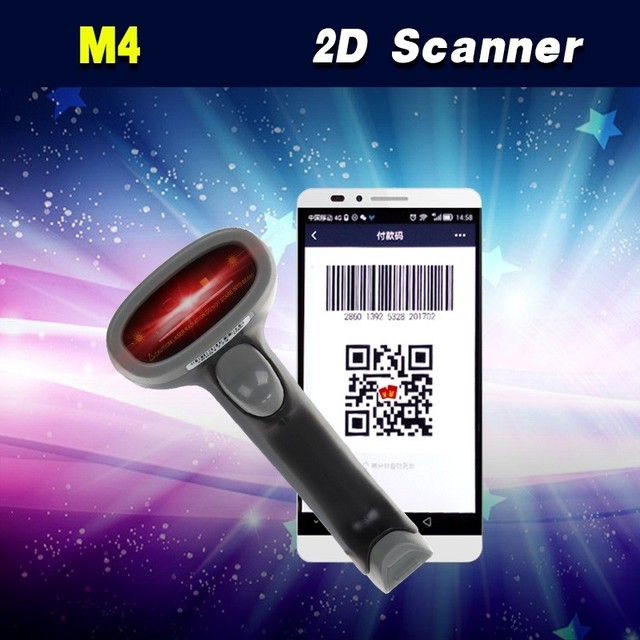 Free Shipping! 5pcs/lot Wired 2D Barcode Scanner USB QR Code Scanner Reader Android Mobile Payment Screen Barcode Scanner