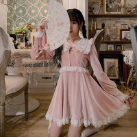 Princess sweet lolita dress Bobon21 French Girl Loving Hollow out Antique Embroidery Lace Velvet Dress lovely women D1738