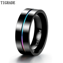 Tigrade 7mm Colorful Ring Men Black Titanium Wedding Engagement Rings Rainbow Male Fashion Jewelry Bague Homme Anels