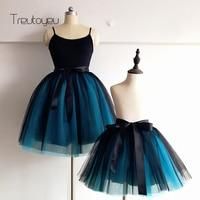 New 7 Layers 21 65 Two Tone Color Knee Length Midi Women Skirts Princess Tutu Tulle