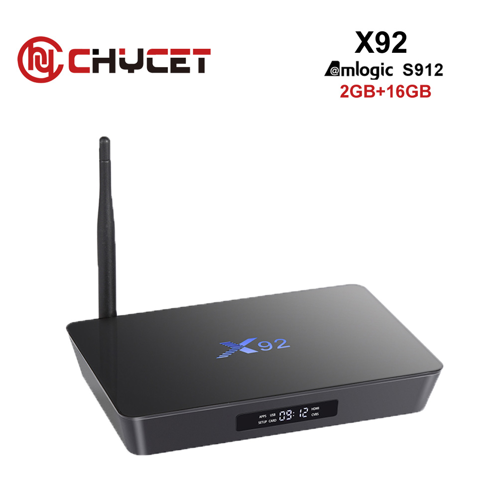 Chycet X92 S912 Amlogic 2G/16 GB Android 6.0 Smart TV Box Octa Core BT 4.0 2.4/5