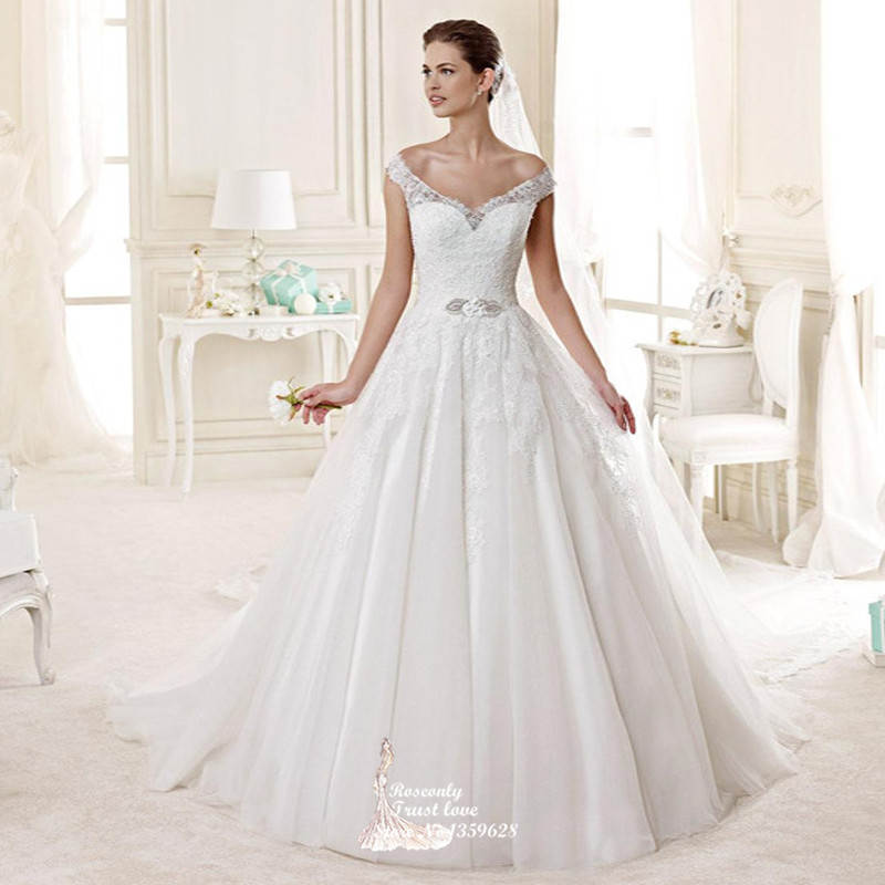 New fashion 2015 princess style illusion lace back wedding dress HS ...