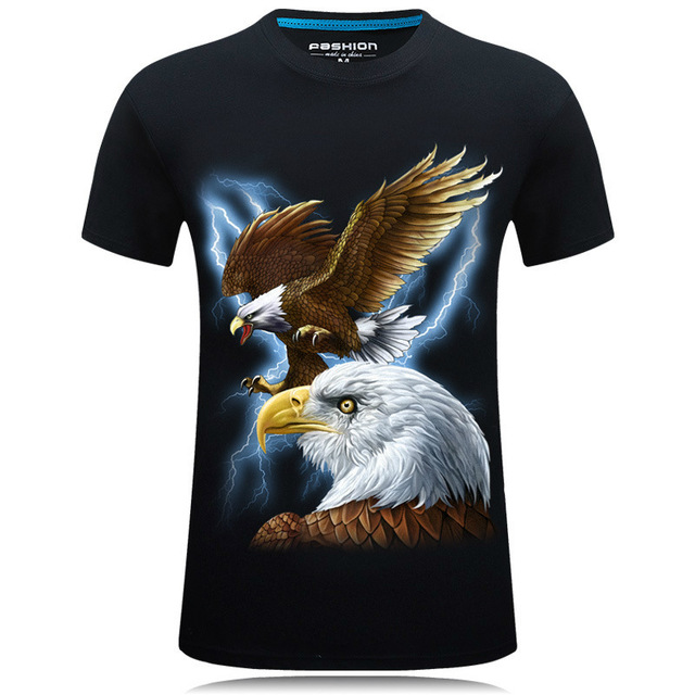 Fire Kirin Short Sleeve T Shirt Men 2017 Summer T-shirts 3D Animal Floral Print Tshirt Homme 5XL 6XL Hip Hop Streetwear T400