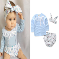 Kids Summer New Casual Style Blue Cute Lace Long Sleeve 100% Cotton T-shirt+shorts+free Headband 3pcs Baby Girls Clothing Set