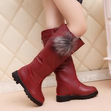 SKEHK New Fashion Girl  Boots Children Autumn Spring Winter Cute Keep Warm Kids Girls Princess Antislip Leather