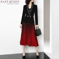 Для женщин весенние офисные элегантные костюмы с юбкой Для женщин формальный полный рукав кардиган и до середины икры Юбки Комплекты AA3401 F