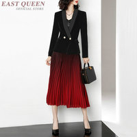 Women's spring business office elegant skirt suits women formal full sleeve cardigan and mid calf skirts sets AA3401 F