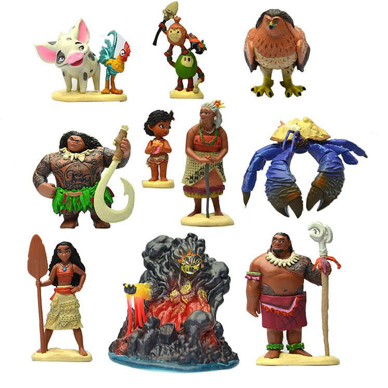 10pcs/set Moana Princess Maui Chief Tui Tala Heihei Pua Villager Tamatoa Dolls PVC Action Figure Brinquedos Toys for Children gonlei moana waialiki maui heihei abs weapons light sound saber fishing action figures moana adventure abs toy lightsaber gift