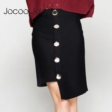 Фотография Jocoo Jolee Fashion Asymmetrical Knee-Length Women Skirt Black Solid Bust Skirt With Button Decoration 2017 Autumn&Winter New