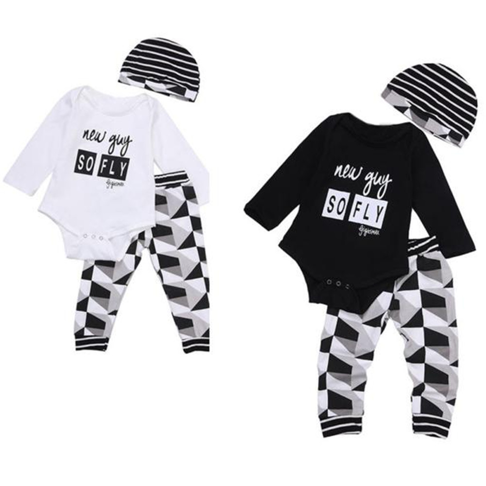 2018 New Toddler Boy Outfit Clothes Print Romper Tops+Long Pants Trousers+Hat 1Set Dropshipping