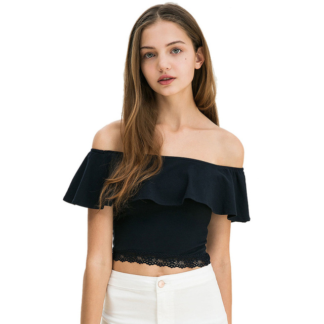 Summer Women Sexy  Patchwork Cotton Boat Neck Off Shoulder Lace Crop Top Causal Overlay Trim Tight T-shirt