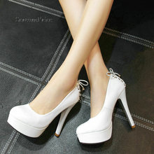 Women Platform Slip On Sexy Thin High Heel Lazy Shoes Fashion Cross Tied Dress Party Shoes Black White With Plus Size