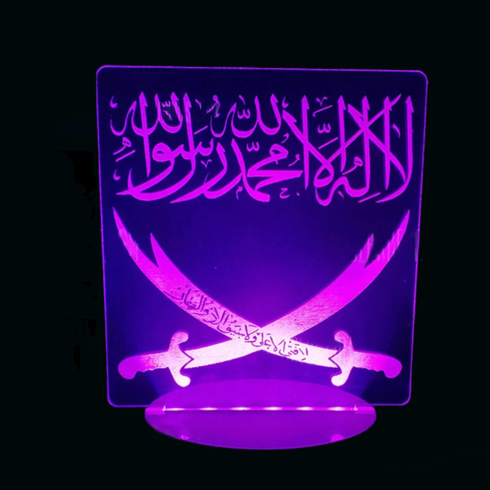 3D Visual Islam Arabic Double Knives Lamp Led Night Light Kids Touch Usb Creative Table Lamp Baby Sleep Lighting Gift Home Decor