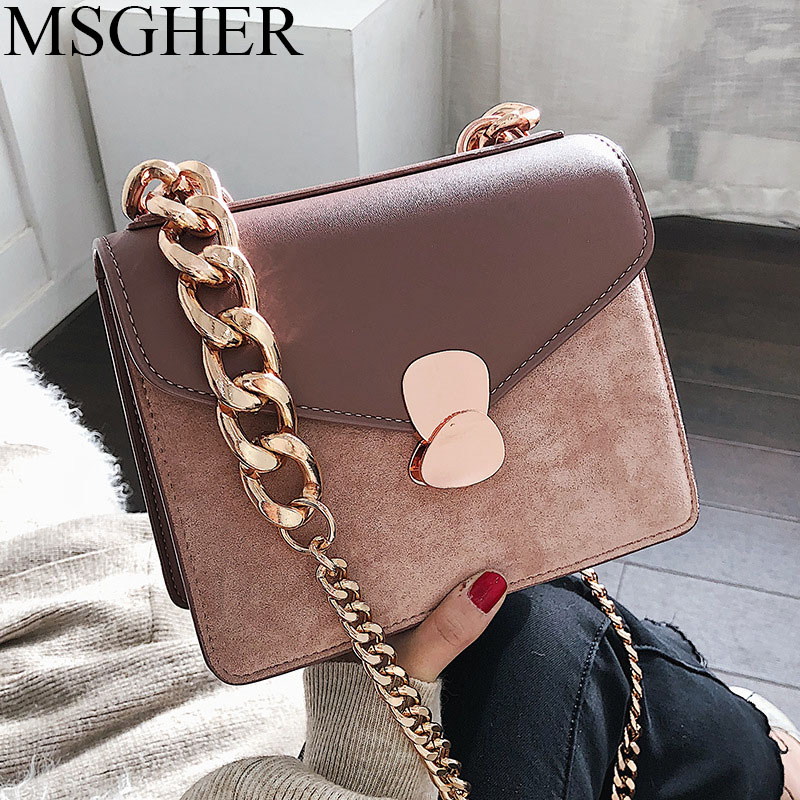 MSGHER Retro Female Square Bag New High quality Matte PU leather Women s  Designer Handbag Chain Shoulder 2c0a1f20dca0