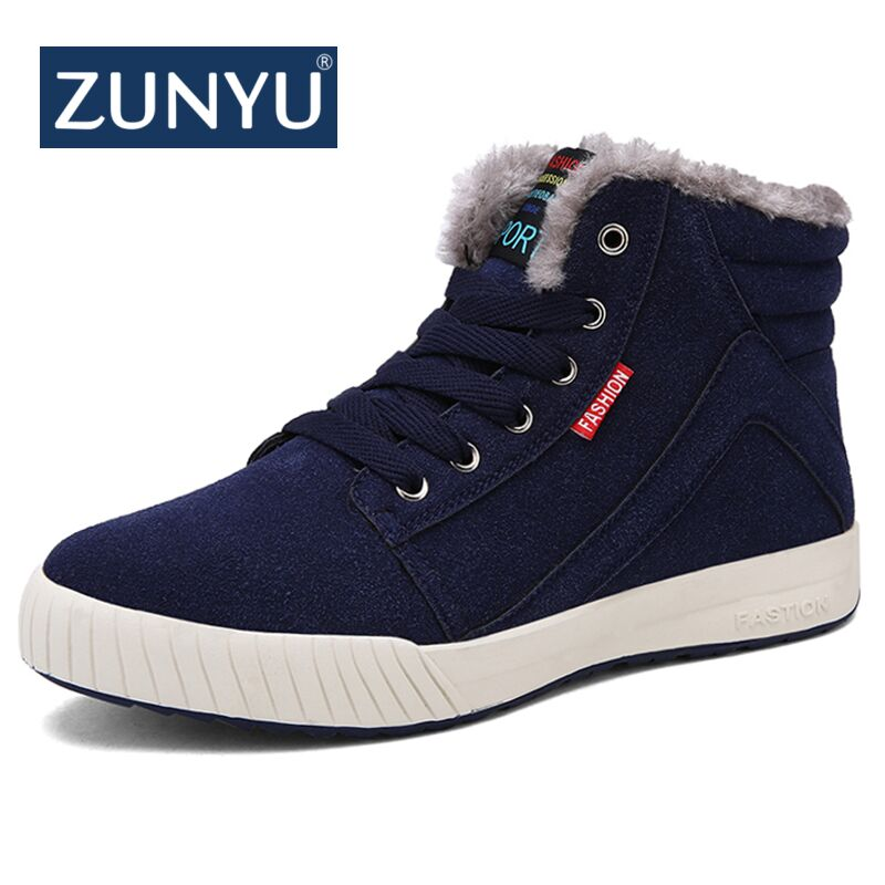 ZUNYU Men Boots Winter With Fur 2018 Warm Snow Boots Men Winter Boots Work Shoes Men Footwear Fashion Rubber Ankle Shoes 38-48 коляска трость happy baby cindy maroon