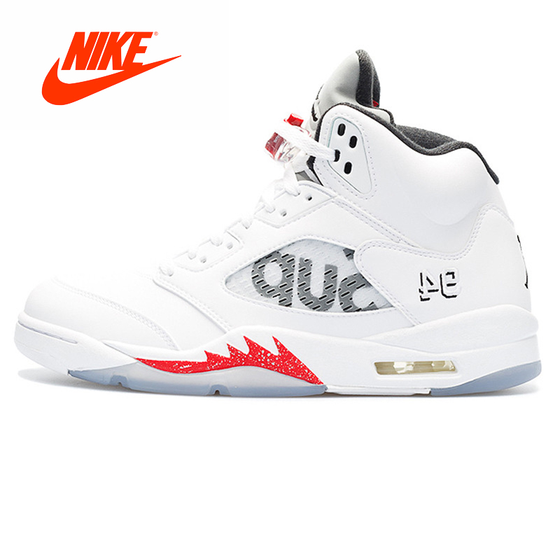 Оригинальный Новое поступление Аутентичные Nike Air Jordan 5 Ретро Верховный Supreme Мужская баскетбольная обувь кроссовки спорта на открытом возду...