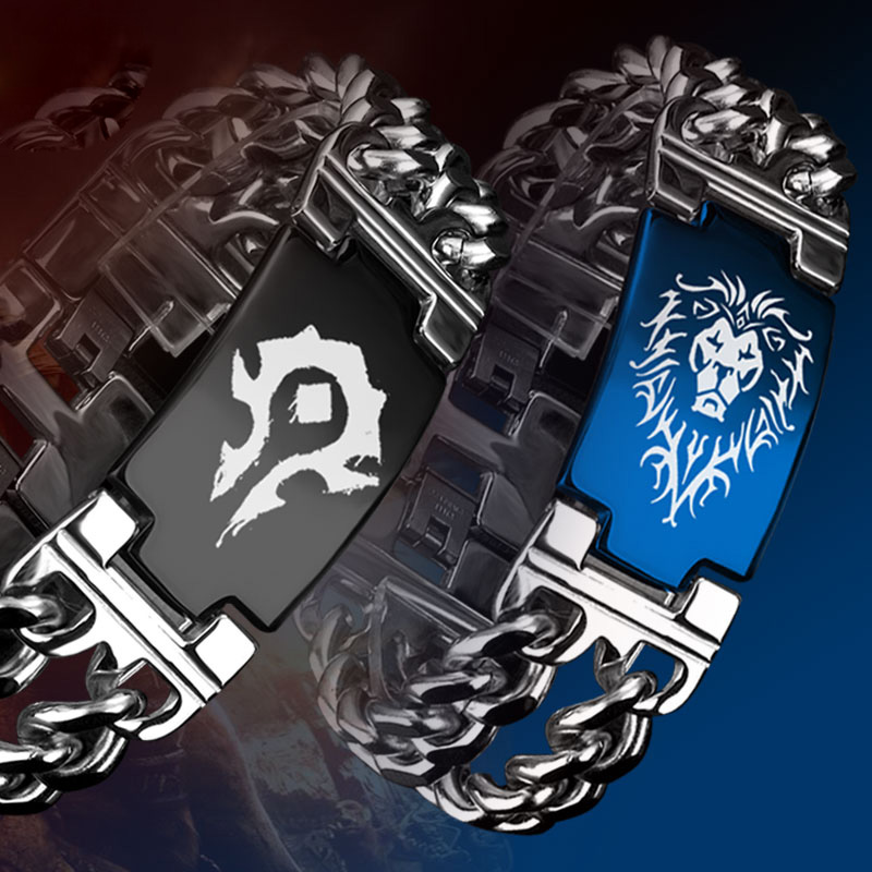 WOW horda alianza pulsera de acero de titanio para los hombres y las mujeres pulseras hombre juego de joyería de pulsera de acero inoxidable 2018 León pulsera