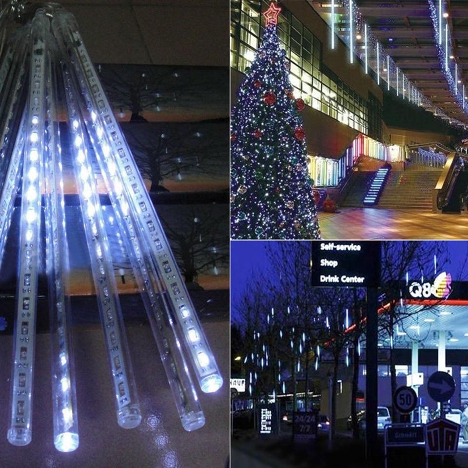 Новогодний 20 см 30 см 50 см наружный Метеоритный Дождь 8 трубок светодиодный струнный фонарь Водонепроницаемый для украшения рождественской свадебной вечеринки