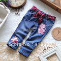 new 2013 spring autumn baby clothing children's jeans girls single tier legging child skinny pants baby embroidery Denim pants