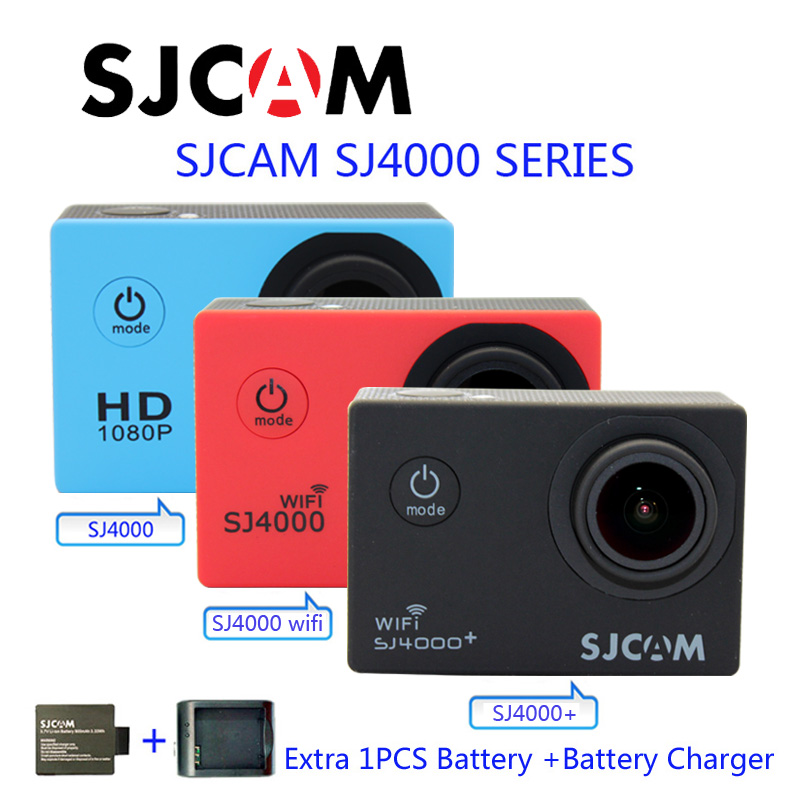 Free Shipping!Original SJCAM SJ4000 Series SJ4000 & SJ4000 WiFi & SJ4000 Plus Sports Camera+Battery Charger+Extra 1pcs Battery чехол для смартфона samsung для galaxy j1 2016 ef wj120p белый ef wj120pwegru ef wj120pwegru