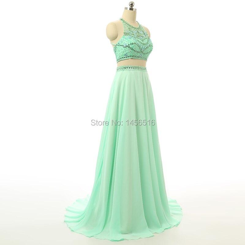 Beaded Mint Green Long Prom Dress 2018 Sequin Vestido de festa A ...