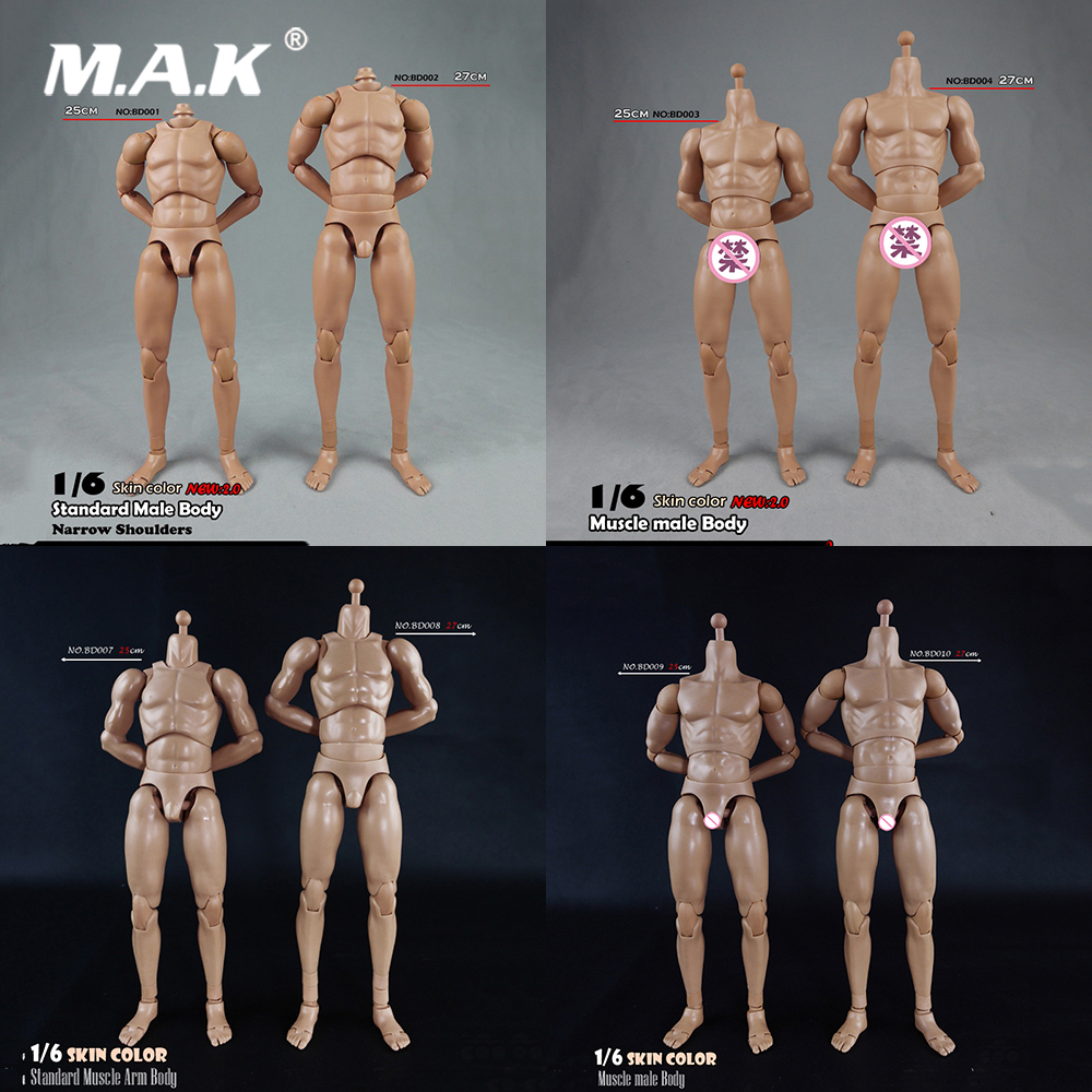 BD001/BD002/BD003/BD004/BD009/BD010 1/6 Male Standard Muscle Body Narrow Shoulders 2.0 Male 27cm/25cm Model For 12'' Figure