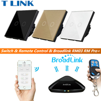 TLINK Broadlink EU Standard Switch Smart Home 2 Gang Wall Light Led Touch Switch With Remote