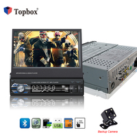 Topbox Авторадио Bluetooth 1 din автомобильный радиоприемник 7 HD сенсорный экран Универсальный FM автомобильный стерео аудио MP5 плеер видеокамера зад