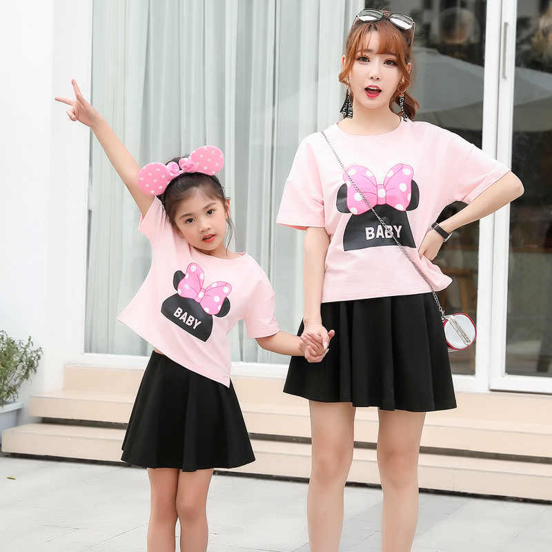 47d4c86b95cf58 ... Mommy and Me Mother Daughter Dress Clothes Mounse Pajamas Mom Baby  Outfits Twins Sisters Matching Clothes ...