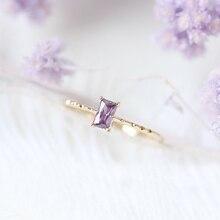ZHOUYANG кольцо для женщин, корейский стиль, квадратный фиолетовый кубический цирконий, светильник, желтое золото, модное ювелирное изделие, подарок для девочек KBR011