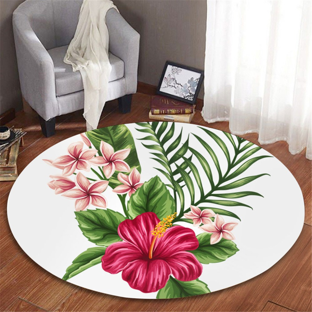 Tropical vert plante feuilles motif fleur ronde flanelle salle de bain cuisine tapis 100 cm chambre d'enfants antidérapant tapis moelleux tapis