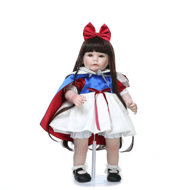 52CM Long Brown Hair Reborn Toddler Baby Girl Standing Doll Snow White Princess Dressed Girl Doll for Girls Birthday Xmas Gifts 52cm shoulder length hair reborn toddler baby girl doll smling princess girl doll in flower dress girls toys birthday xmas gifts
