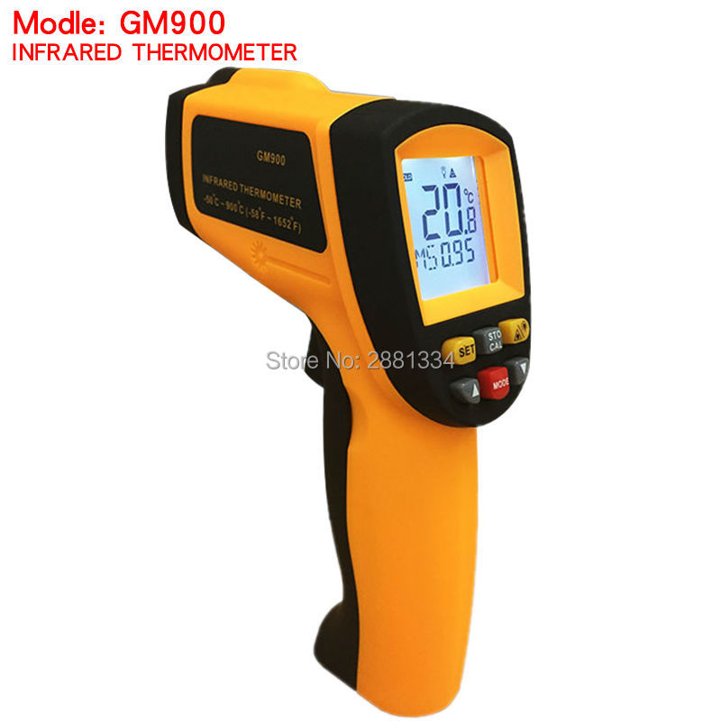 GM900 Thermometer Digital IR Laster Infrared Temperature Meter Non-contact LCD Gun Style Handheld Pyrometer without retail box 6 port usb charging station ac power adapter