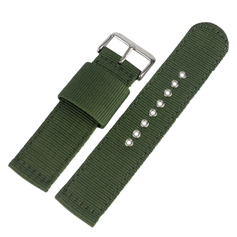 20/22/24mm Military Army Green Fabric Canvas Nylon Watch Band Replacement Pin Buckle Watchband Strap Bracelet Sport Men Women nylon watchband 18mm 20mm 22mm 24mm 6 colors women men fashione sport canvas watch bnad strap silver black buckle bracelet
