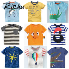 0434cab2 Richu funny t shirts christmas dinosaur tshirts for boys t-shirts for boys  clothing cotton boys t shirt with animals short tee
