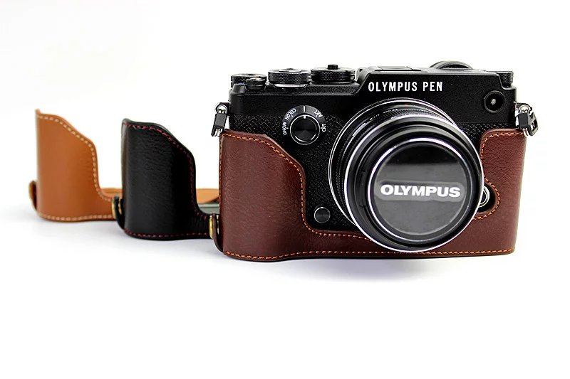 Genuine Leather Hard Half Body Case Grip For Olympus PEN-F PEN F PENF Camera Bag Take Out Battery Directly Case сумка olympus pen slim case medium e0412133