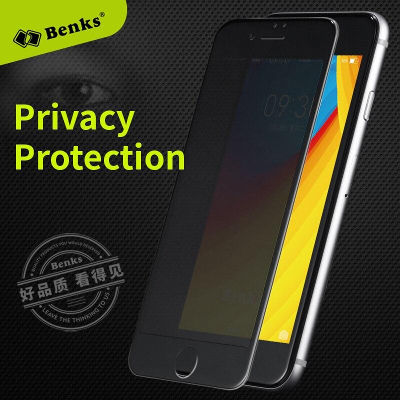 bc13f1bb184 Benks Anti Espía de vidrio templado para el iphone 7 6 6 s Plus protector  de pantalla de privacidad 3D Cubierta de la Película Protectora De Vidrio  Curva ...
