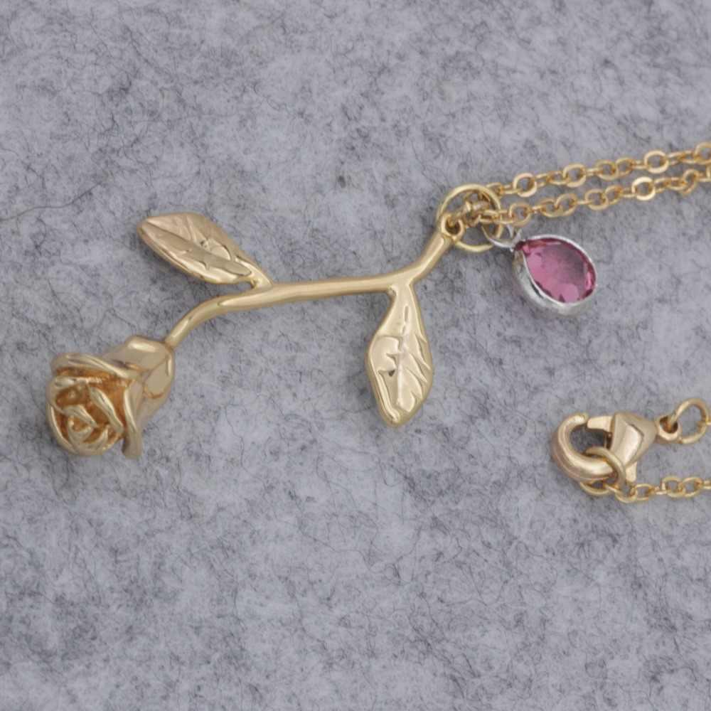 Spersonalizowany naszyjnik birthstone spersonalizowana róża naszyjnik złoty i srebrny kolorowy naszyjnik na prezent YP3193