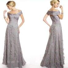 Roben fourreaux avec Vestes Silber Elegante weg von der Schulter Lace Floral lange formale Mutter der Braut Abendkleid Kleider
