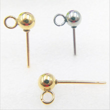 10pcs Silver Gold 316L Stainless Steel Ball Stud Earring Pins/ Ear Base 3/4/5/6/8mm for Women Earrings DIY Jewelry Accessories