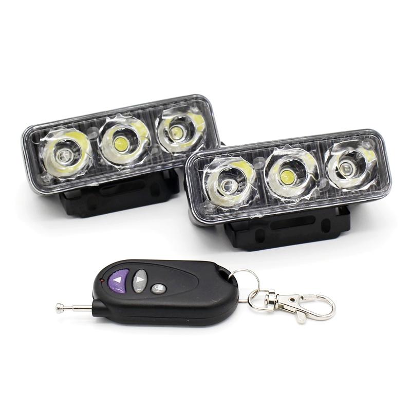 Prix pour 2x IR Contrôle À Distance LED Flash Stroboscopique Avertissement Drl Feux 12 Modes Dynamique Étanche Car Styling Brouillard Travail lampe