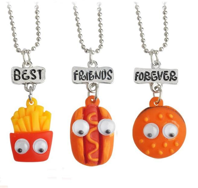 3Pcs/set Hot sale Best Friend Forever BFF pendant bead chain charm necklace fast food cute chips hot dog hamburger kids jewelry ...