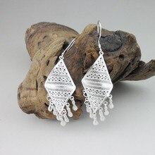 999 Sterling Silver Geometric Drop Earrings Bohemian Tassel Women Handmade Earing Gypsy Ethnic Fine Boho Jewelry Luxury Brand
