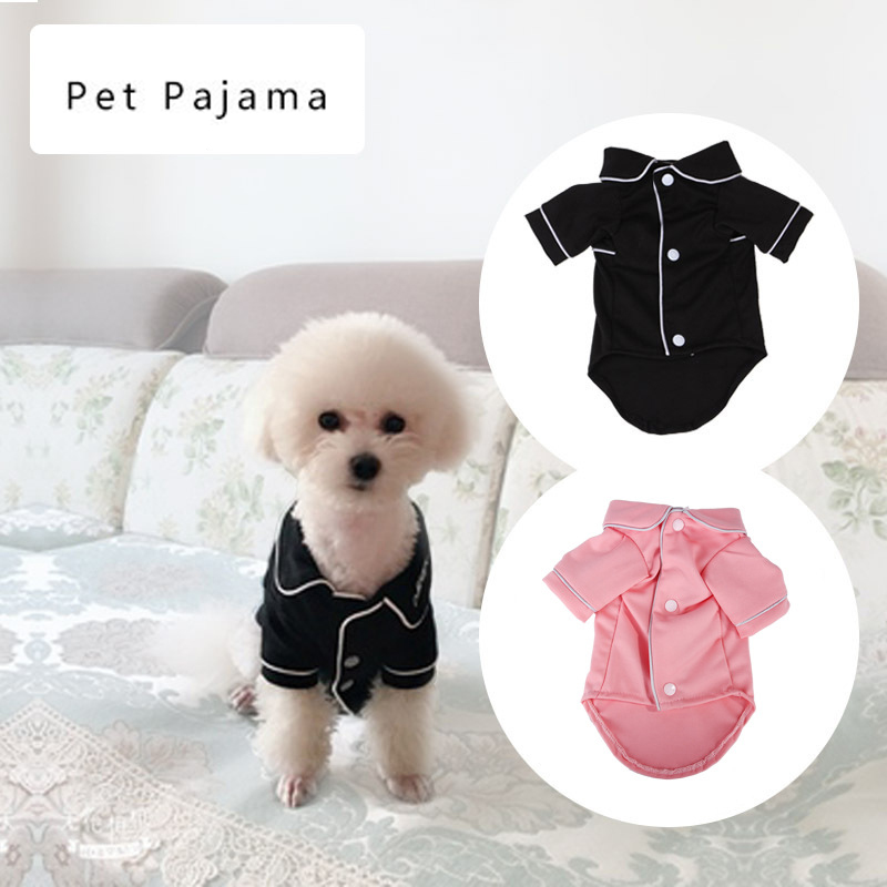 Dog Shirts Spring Summer Pet Pajama Breathable Soft Home T Shirt For Small Dogs Cats Chihuahua Poodle Vests With Snap Fastener (1)