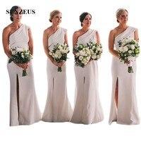 Белое длинное платье для невесты Фата с разрезом на одно плечо, сексуальные платья для свадебной вечеринки, Джерси, bruidsmeisjes jurk women