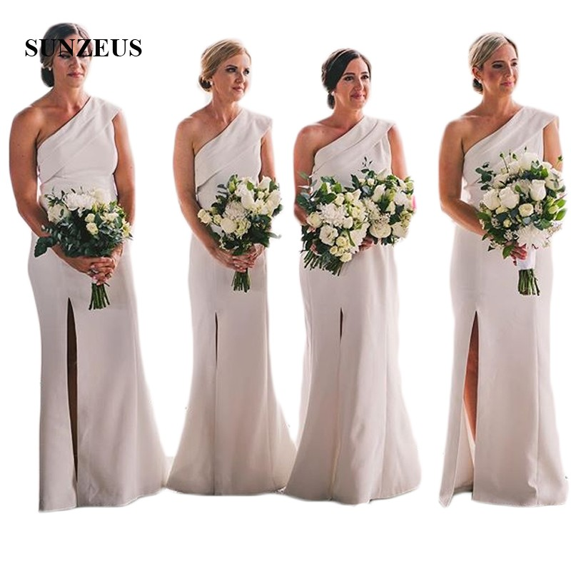 One Shoulder White Long   Bridesmaid     Dresses   Sheath Leg Slit Sexy Wedding Party   Dresses   Jersey bruidsmeisjes jurk women