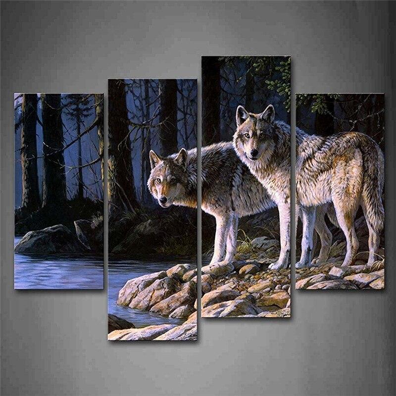 Два волки стоять на берегу реки лес стены Книги по искусству картины печать на холсте животного изображение для дома современный украшения ...