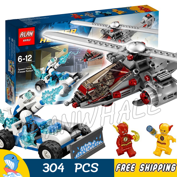 304pcs Super Heroes DC Speed Force Freeze Pursuit CyborgCopter 07093 Model Building Blocks Kids Toys Bricks Compatible With lego