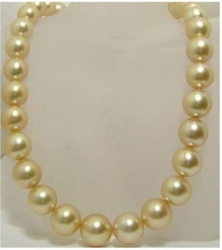 Hot sale new Style >>>>>17 INCHES AAA 10-11mm south sea golden pearls necklace 14KGP