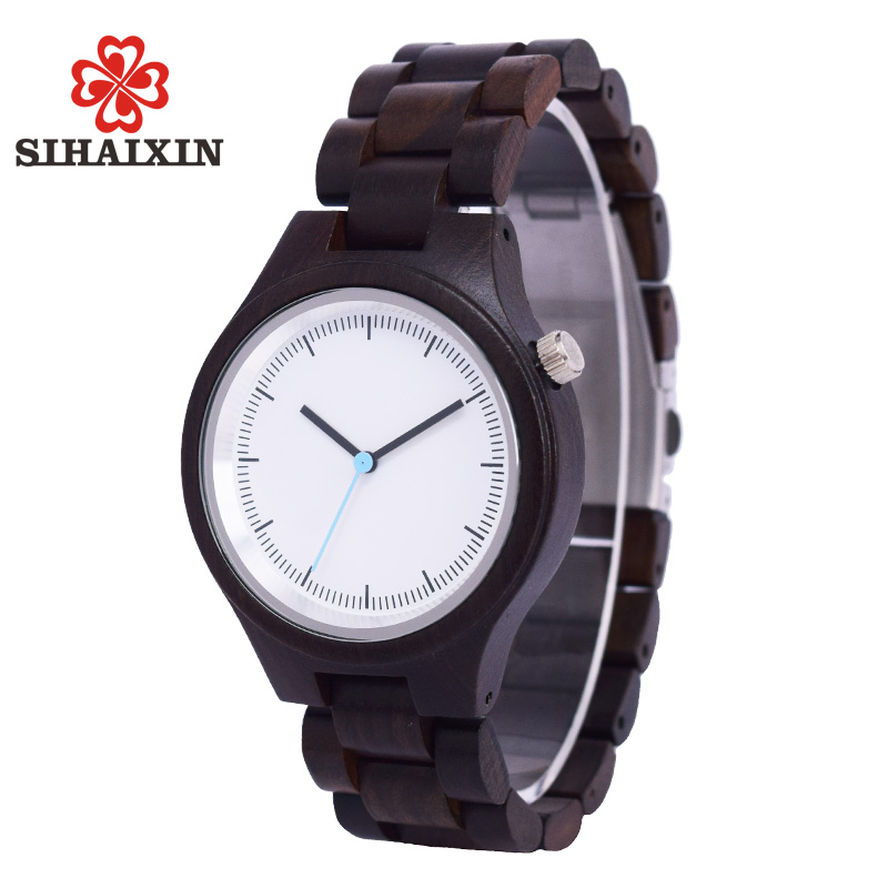 SIHAIXIN Mens Liberty Black Wood Women Watch Sandal Wooden Band Quartz Wristwatches Round Unique Vintage Male Handcrafted Gift sihaixin small wood watch women wristwatches with genuine leather bamboo wooden watch ladies casual quartz female best clock de